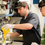 Production Chef, Clint Schaefers making Cherry Bread Pudding